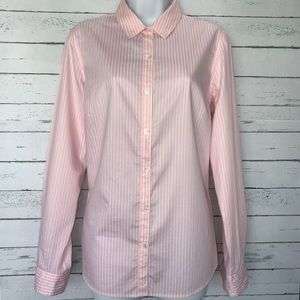 J. McLaughlin Pink and White Button Down Blouse